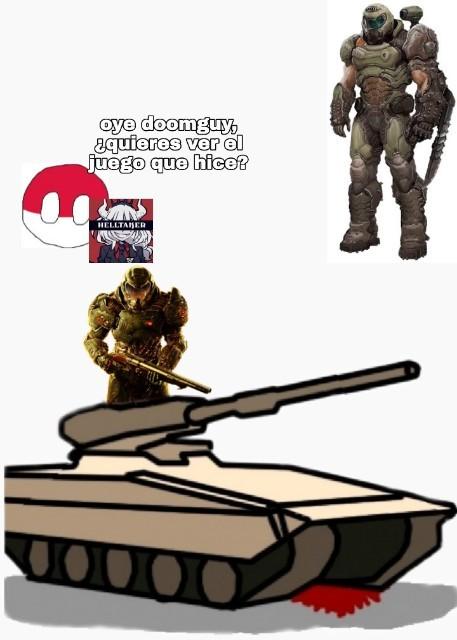 Rehumilde el doomguy, polonia no tanto - meme