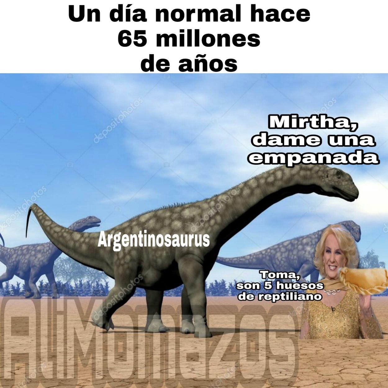 El argentinosaurus comprando empanadas a mirtha - meme