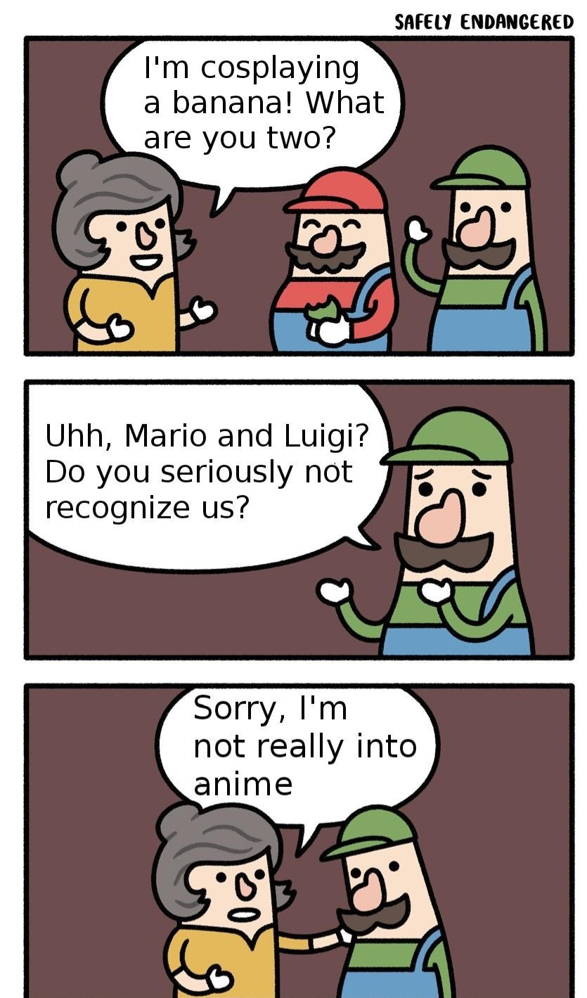 Mario technically has an anime if you count the super mario bros super show - meme