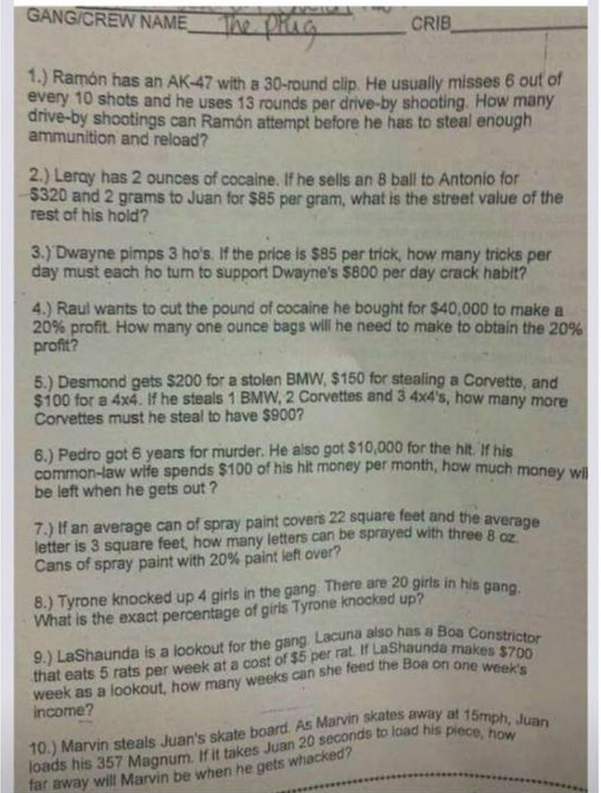 Racist Alabama teachers math quiz - meme