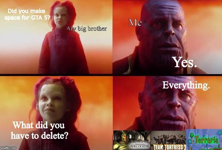 Downloading games on a horrible laptop - meme