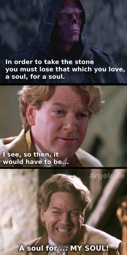Gilderoy Lockhart taking the soul stone - meme