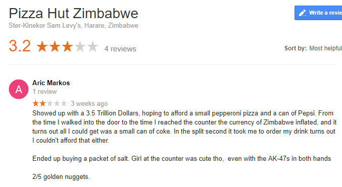 Pizza Hut Zimbabwe - meme