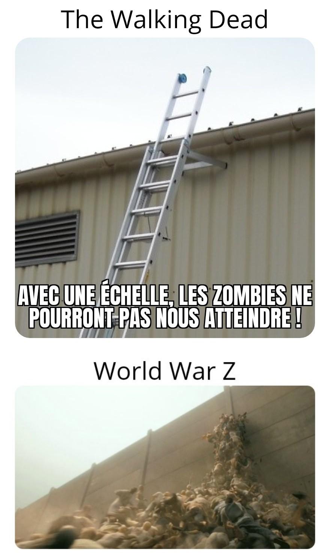 C'est facile de survivre dans the Walking Dead, pas dans World War Z... - meme