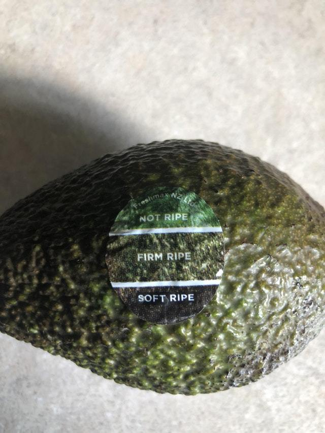 Sticker tells when your avocado is ripe - meme