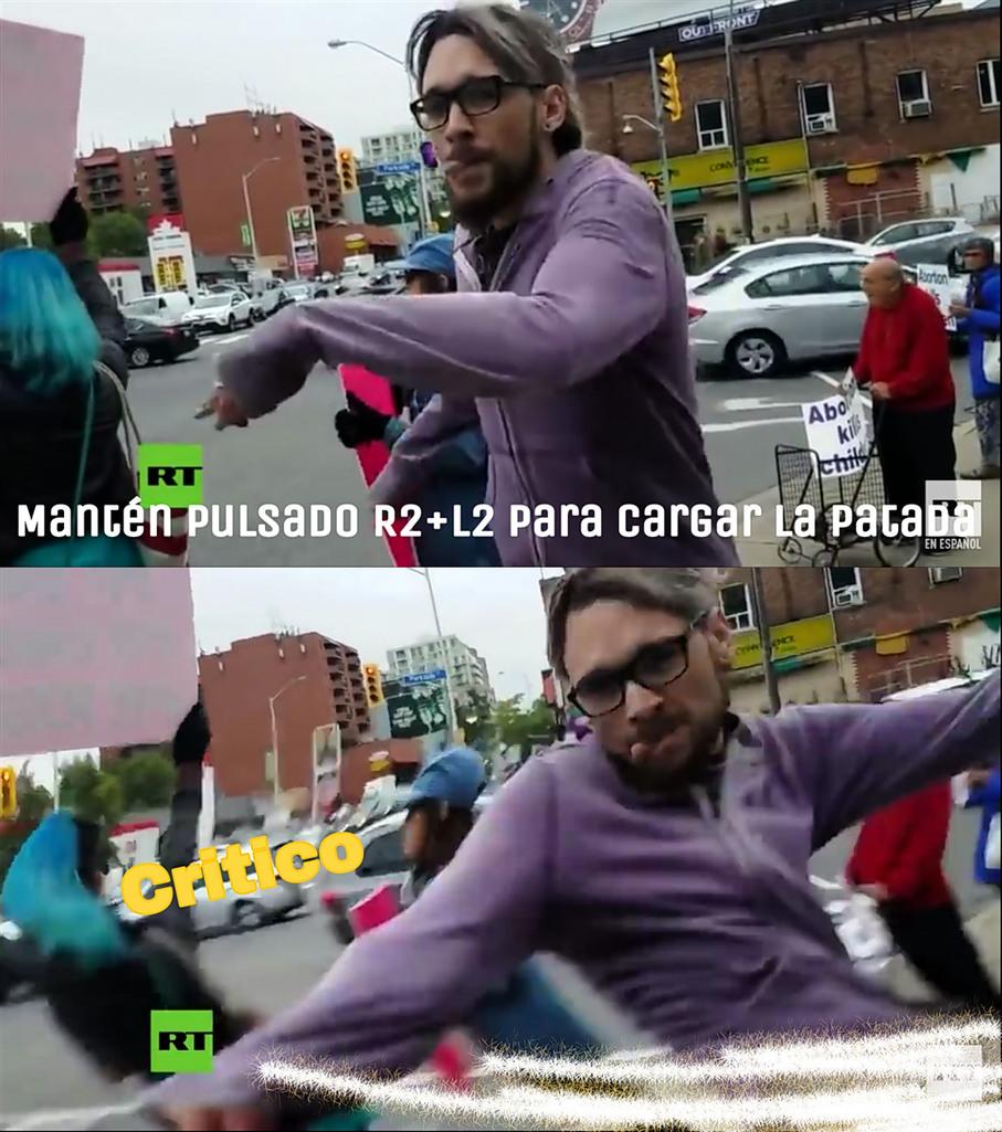 Un hombre da una patada a una mujer en una concentración provoca (para el q no lo vio) - meme