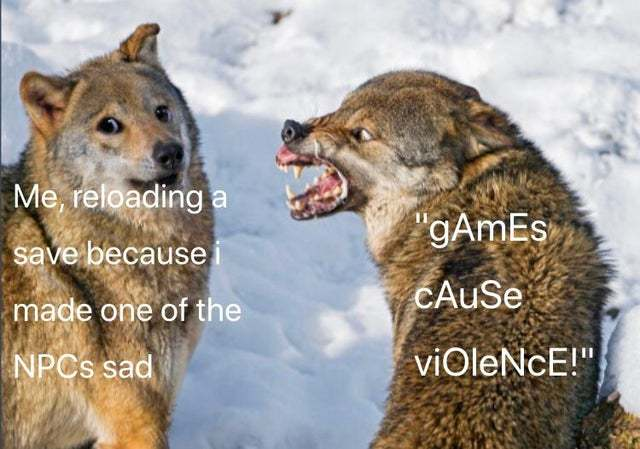 Games cause violence - meme