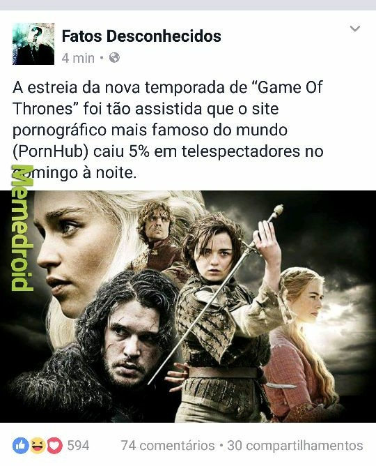 O titulo foi ver Game of Thrones - meme