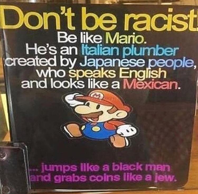 Não seja racista, seja o Luigi vermelho - meme