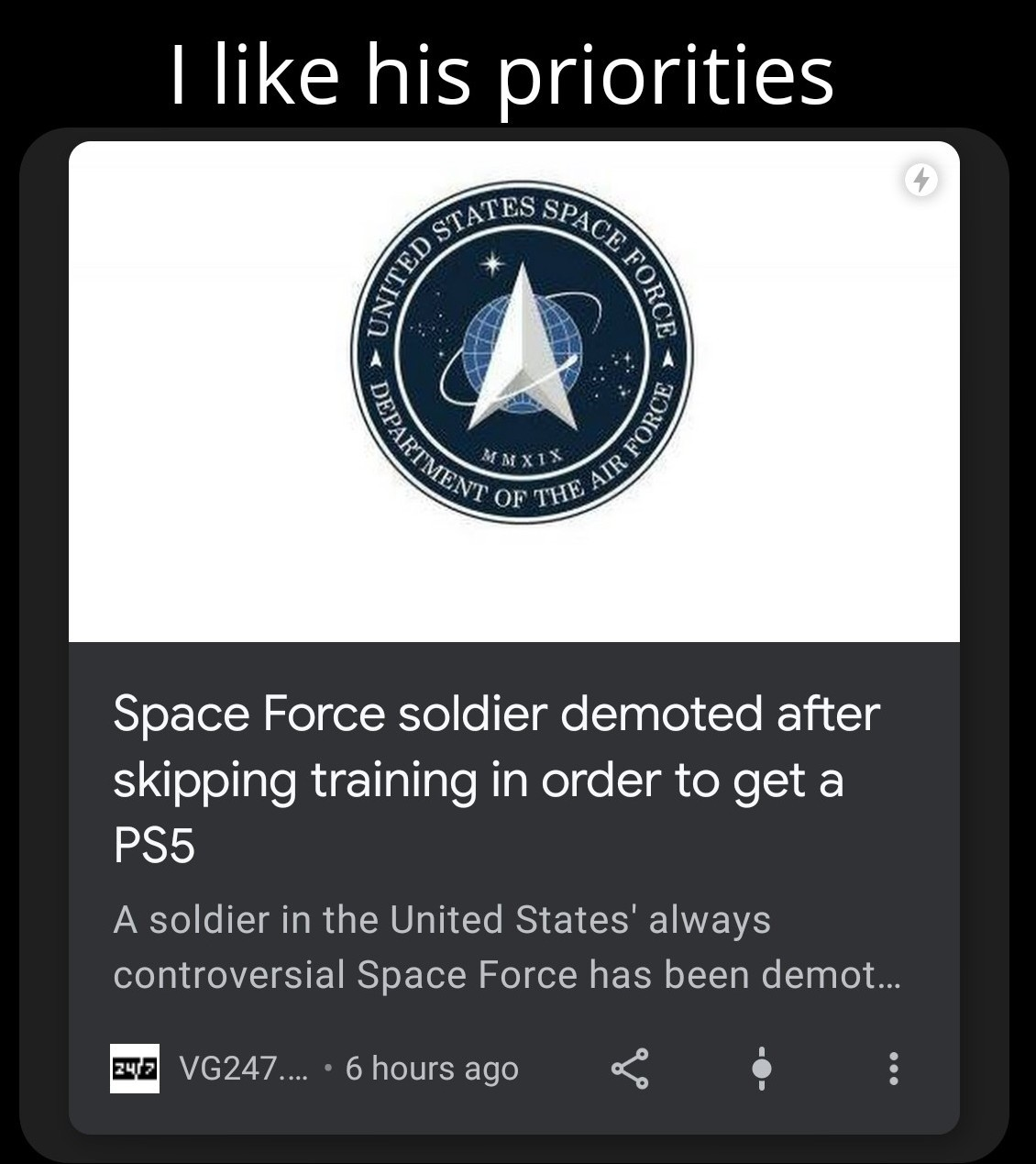 Space Force needs more gamers - meme