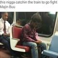 Ça gars prend le train pour aller combattre Majin buu