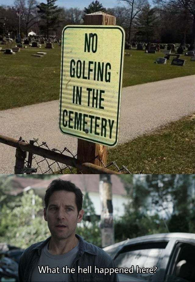 No golfing in the cemetery - meme