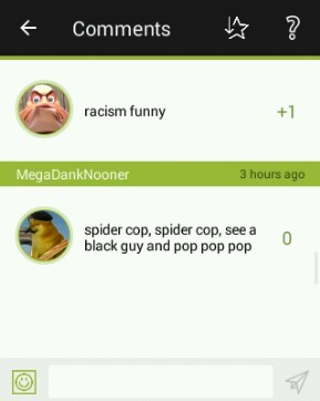 Spider cop spider cop any minority bop bop bop, look out here comes the spider cop - meme