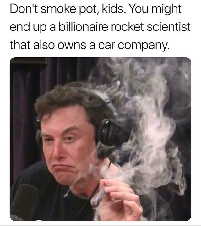 Don't smoke pot, you might end up a billionaire rocket scientist that also owns a car company - meme