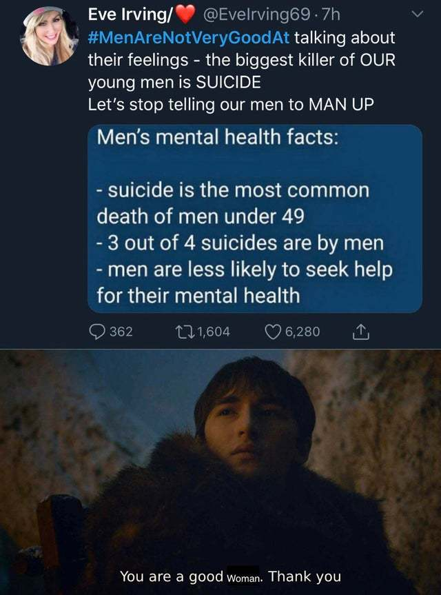 Men's mental health facts - meme