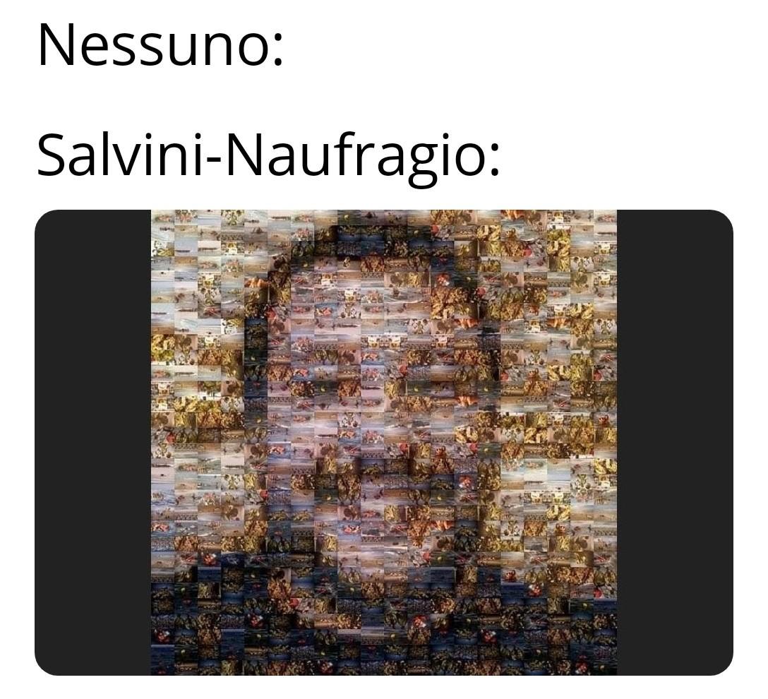 Un ritratto di Salvini fatto con foto di naufragi... non vedo nessun secondo fine... - meme
