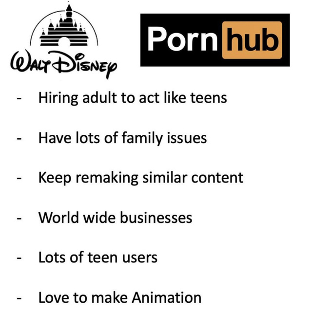 Things that Disney and Pornhub have in common - meme