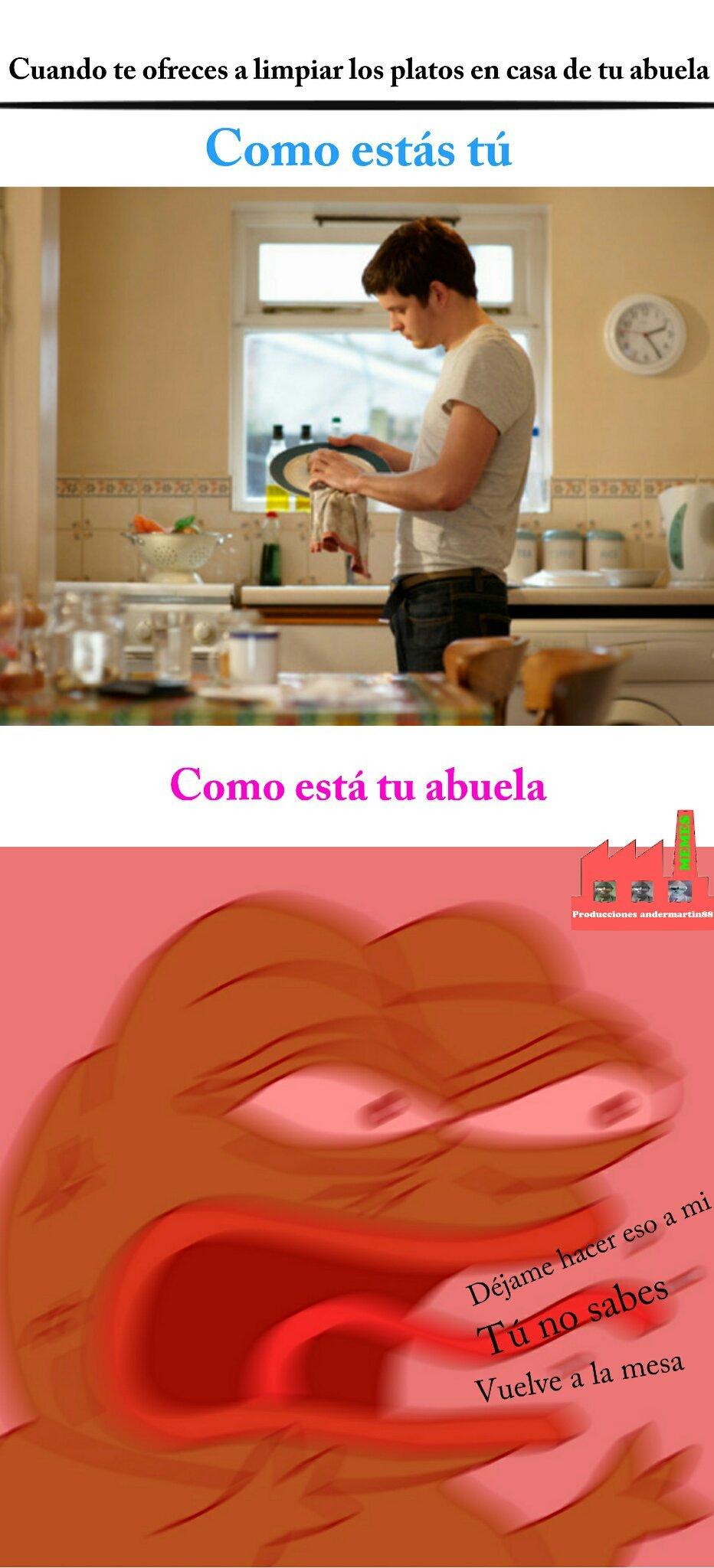 Mi abuela se pone muy nerviosa si solamente le ayudo a recoger un plato - meme
