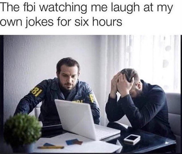 The FBI watching me laugh at my own jokes for six hours - meme