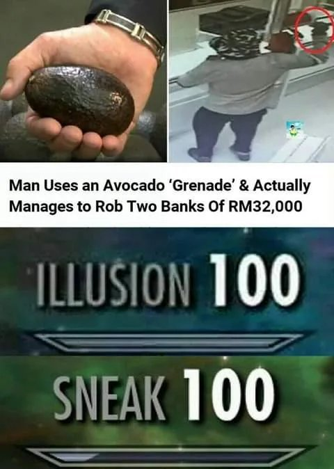 Man uses an Avocado grenade to rob two banks - meme