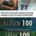 Man uses an Avocado grenade to rob two banks