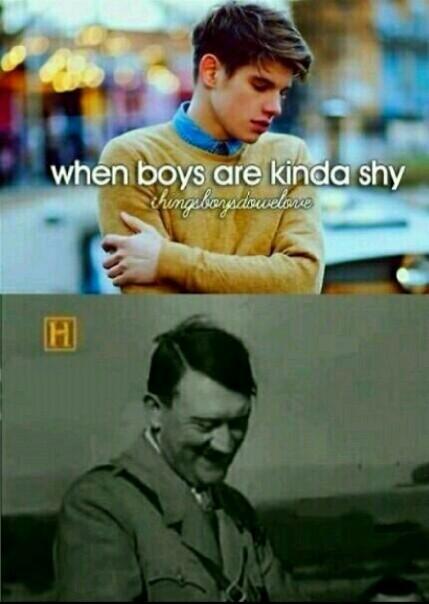 Shy Hitler is shy - meme