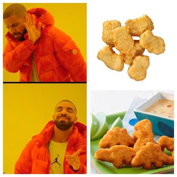 I chicken nugget a forma di dinosauro hanno segnato la mia infanzia - meme