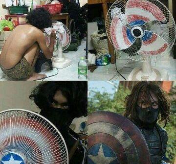 Assim faz o escudo do Capitão América - meme