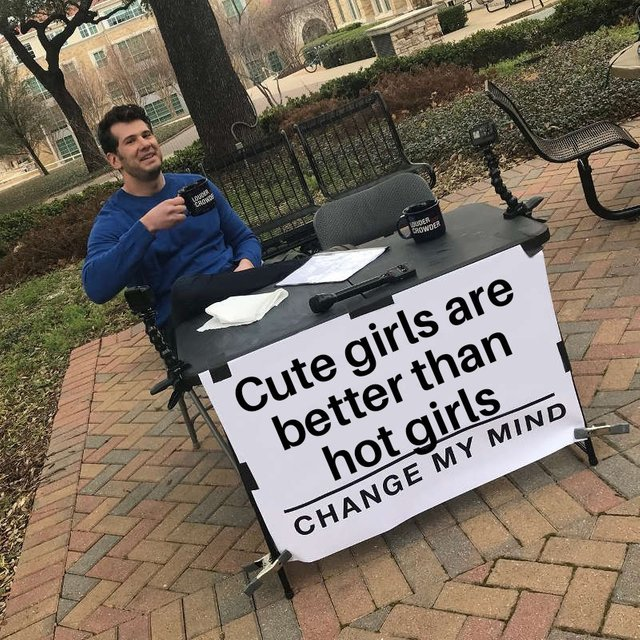 Cute girls are better than hot girls - meme