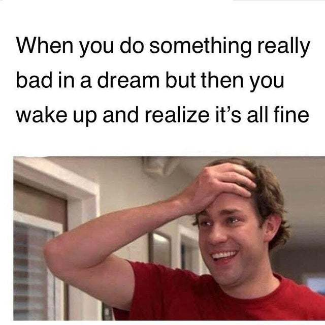When you do something really bad in a dream but then you wake up and realize it's all fine - meme