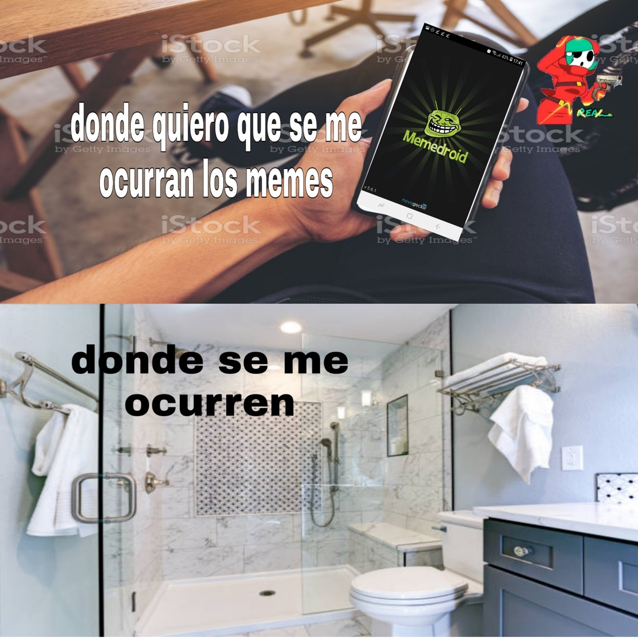 Uff qué buena ducha se me ocurrio al tiro un meme