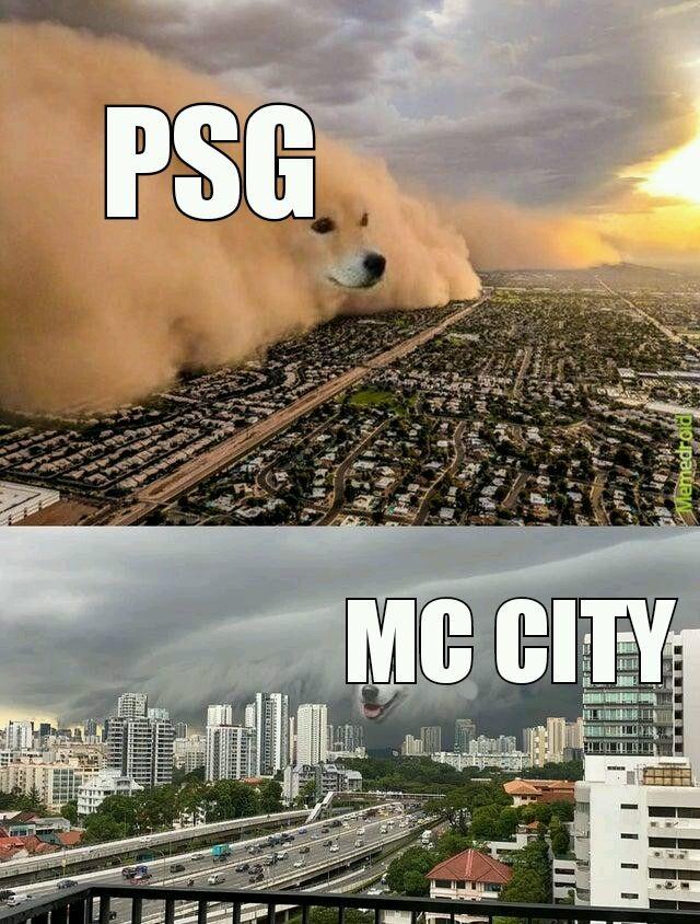 PSG VS MC CITY - meme