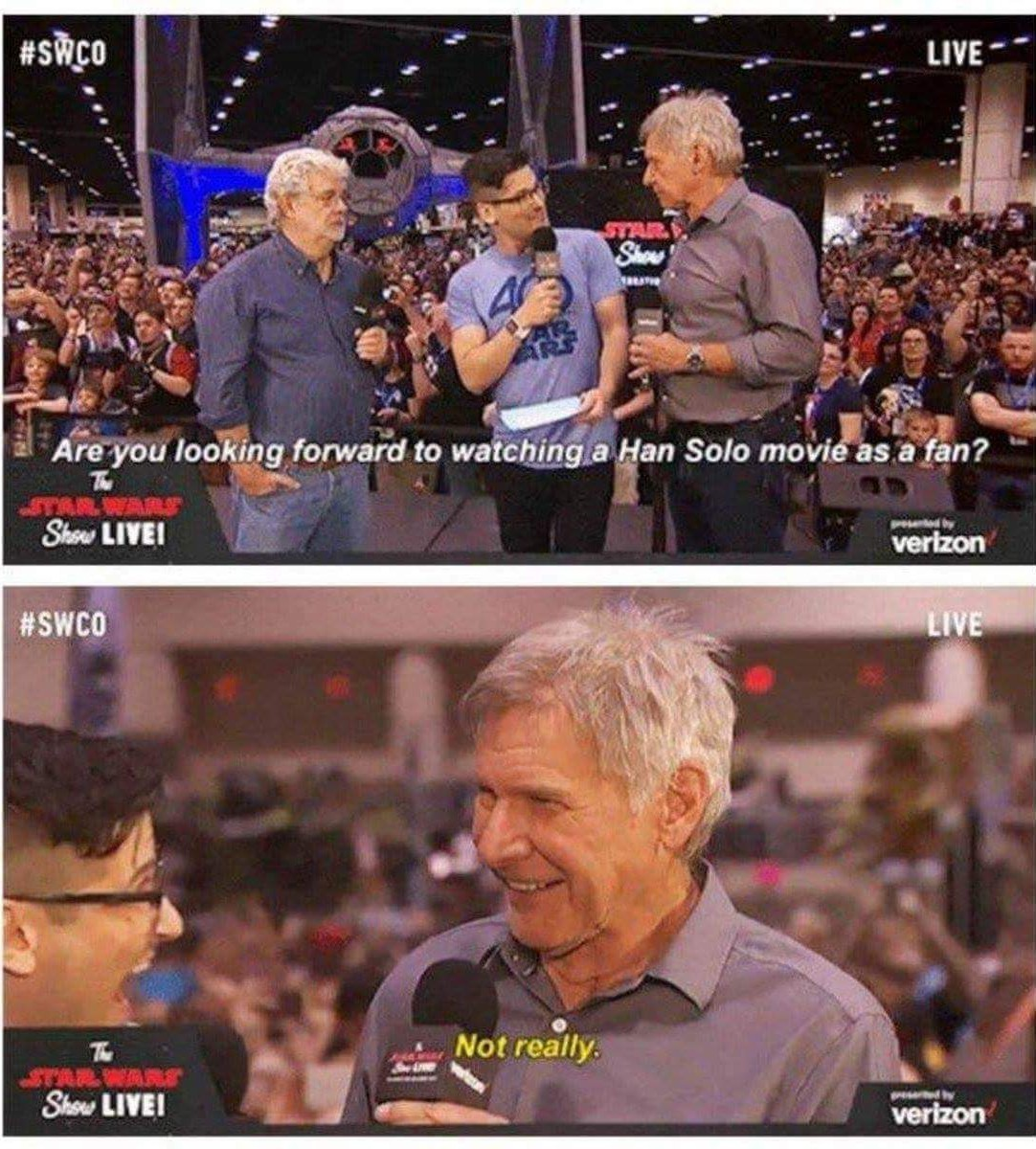 Harrison Ford hates his characters - meme