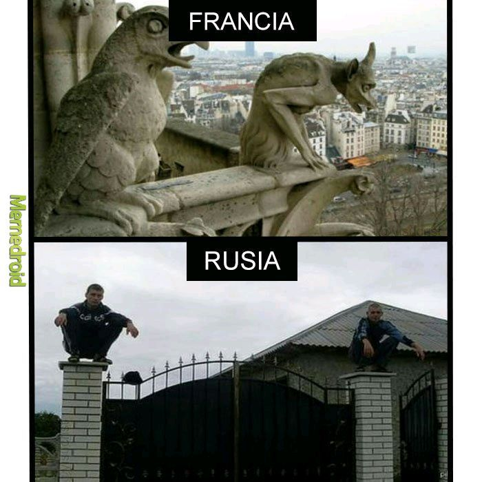 Gargolas rusas vs francesas - meme