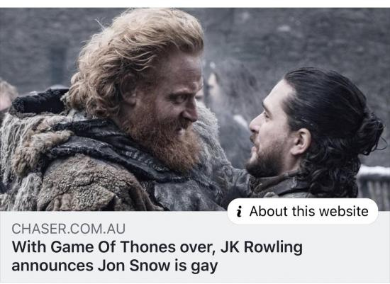 JK Rowling announces Jon Snow is gay - meme