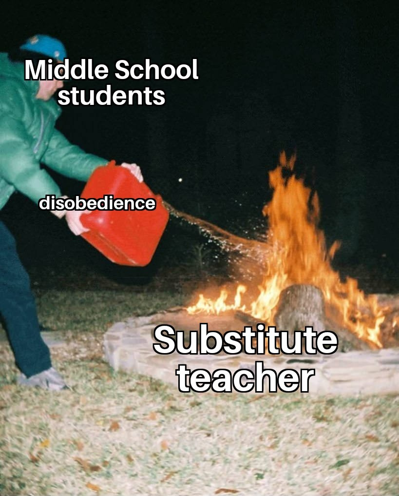 When students used to take advantage of substitute teachers in effort to impress their classmates - meme