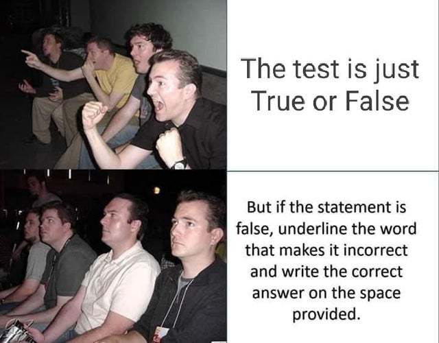 The test is just true or false, but... - meme