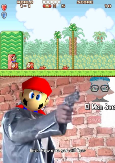 Explicación: Si Mario salta sobre el muere, pero está sobre el y no muere - meme
