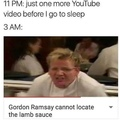 Gordon Ramsay cannot locate the lamb sauce