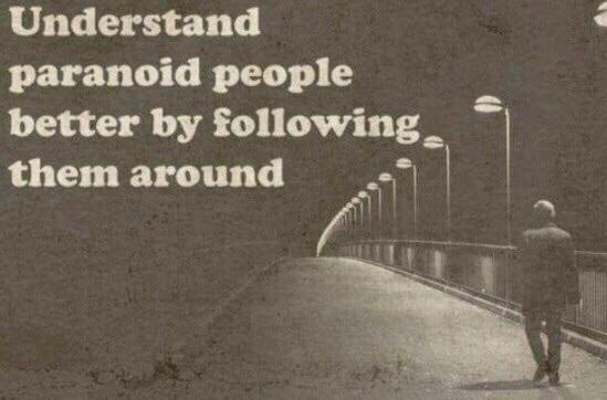 Understand paranoid people better by following them around - meme