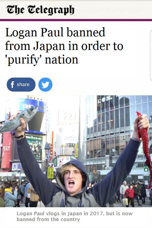 Logan Paul banned in Japan - meme