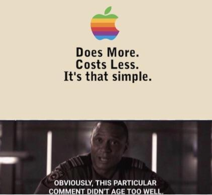 Apple: does more and costs less - meme