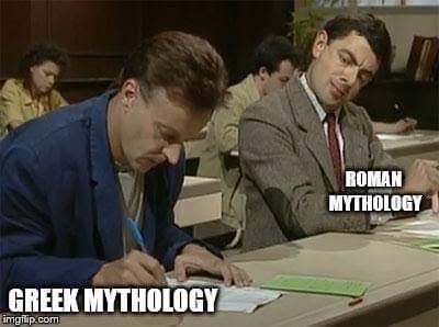 Greek Mythology vs Roman mythology - meme