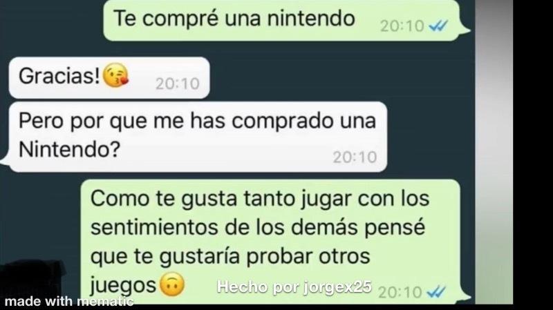 Ella con la Nintendo y con sus sentimientos - meme
