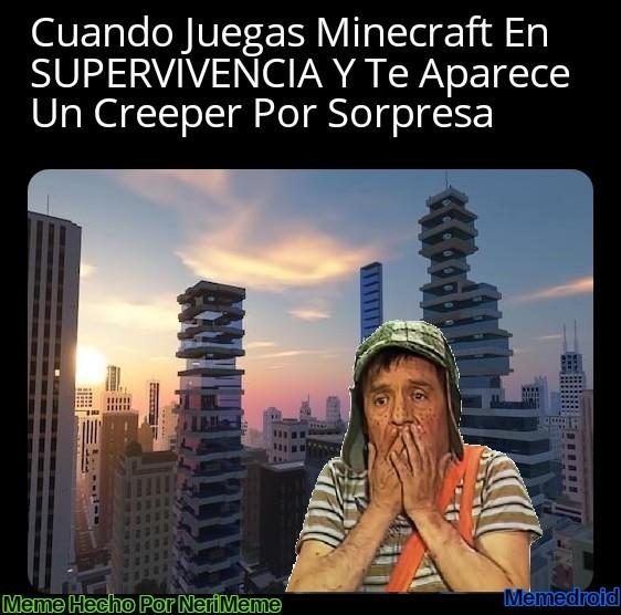 Meme: Creeper Ataca En Minecraft De Noche