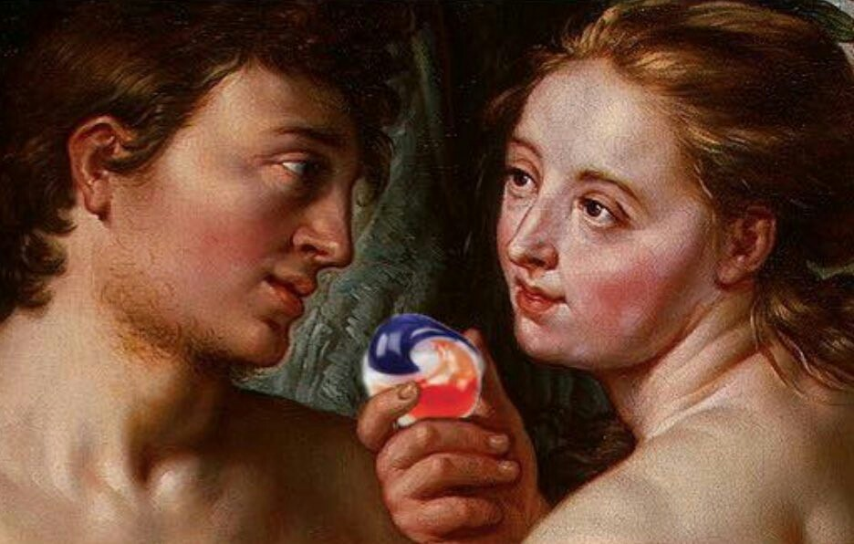 Adam and eve sharing the forbidden fruit - meme