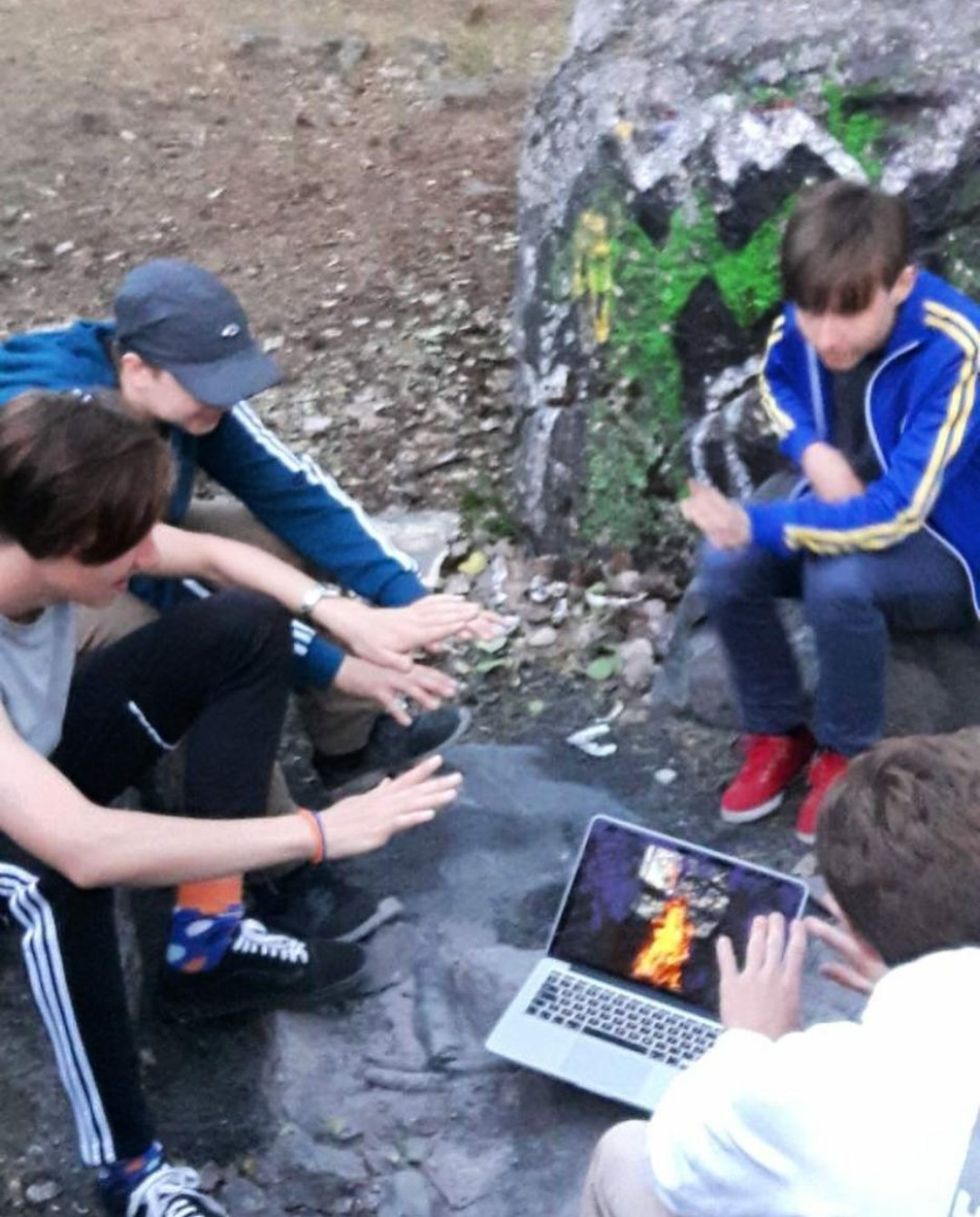 Me and my friends at a campfire - meme