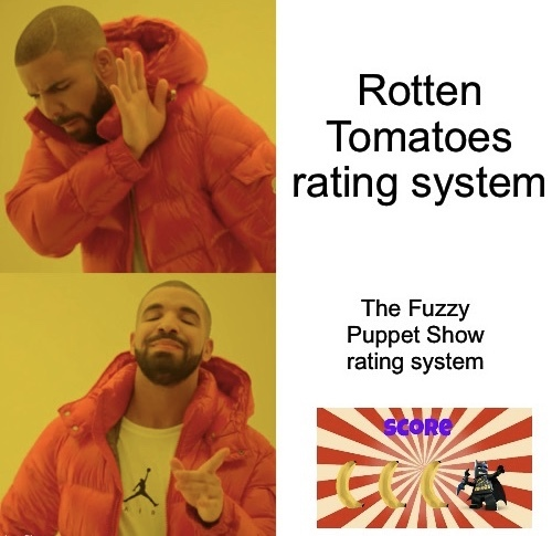 Rotten Tomatoes? Fuzzy Puppet Show? They both have a rating system. - meme