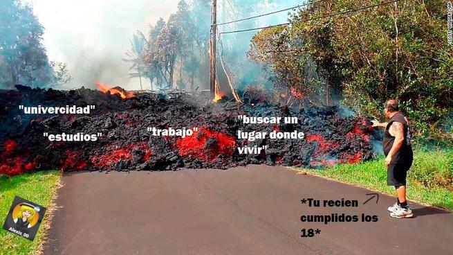 Buena forma de detener la lava - meme