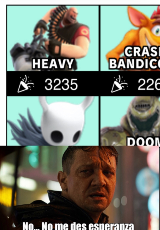 C O N T E X T O: Es una votación para añadir un personaje a smash - meme